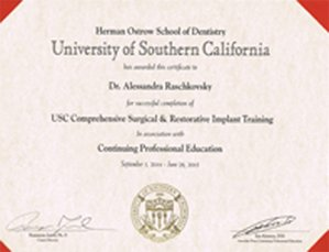Certificate for Comprehensive Surgical & Restorative Implant Training and a CPD degree from University of Southern California